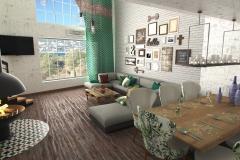 Ялта, гостиная в частном доме, зона камина (1)